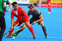 Wei Wo of China shields the ball from Jorrit Croon of the Netherlands during the Hockey World League Quarter-Final match between Netherlands and China at the Olympic Park, London, England on 22 June 2017. Photo by Steve McCarthy.<br /> <br /> Netherlands v China at the Olympic Park, London, England on 22 June 2017. Photo by Steve McCarthy.