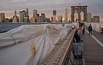 December 2, 2011. The brooklyn Bridge under repair at dusk.