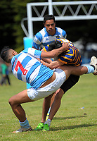 Silverstream v St Bernard's Boys QF. 2017 Wellington Secondary Schools Condor Rugby Sevens tournament at Naenae College in Naenae, Wellington, New Zealand on Monday, 23 October 2017. Photo: Dave Lintott / lintottphoto.co.nz