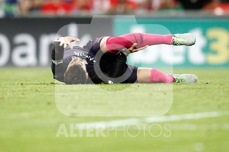 FC Barcelona's Gerard Pique injured during La Liga match. August 28,2016. (ALTERPHOTOS/Acero)