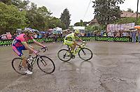 PESCARA 10/05/2013: CICLISMO. 7a TAPPA DEL GIRO D'ITALIA. PARTENZA DA MARINA DI SAN SALVO ARRIVO A PESCARA. IL PRIMO A TRANSITARE SUL TRAGUARDO è Adam Hansen (Lotto Belisol) CON UN TEMPO DI 4h35'49?. NELLA FOTO MICHELE SCARPONI E MAURO SANTABROGIO. FOTO DI ADAMO DI LORETO..10/05/2013 PESCARA: CYCLING. 7 STAGE OF ITALIAN TOUR. THE HISTORICAL PINK SHIRT RACE. STARTED FROM MARINA DI SAN SALVO FINISHED IN PESCARA CITY. THE WINNER WAS Adam Hansen (Lotto Belisol). IN PHOTO MICHELE SCARPONI AND MAURO SANTABROGIO. PHOTO CREDIT ADAMO DI LORETO