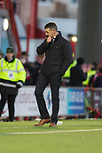 2nd February 2019, Hope CBD Stadium, Hamilton, Scotland; Ladbrokes Premiership football, Hamilton Academical versus Dundee; Dundee manager Jim McIntyre dejected after the late equaliser from Hamilton Academical