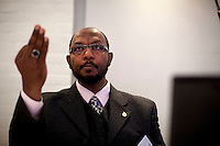 Sami Hajj (full name: Sami Mohy El Din Muhammed Al Hajj) is a Sudanese journalist for the Al Jazeera network. In 2001, while on an assignment in Afghanistan, he was arrested and held in extrajudicial detention in the United States Guantanamo Bay detainment camp in Cuba for over six years. He was released without charge on May 1, 2008 with two other detainees from Sudan. He plans to launch legal action against George W. Bush. Photo: Christopher Olssøn. 06.11.09. Copenhagen.