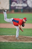 Nick Jobst (46) of the Orem Owlz delivers a pitch during a game against the Ogden Raptors at Lindquist Field on August 3, 2018 in Ogden, Utah. The Raptors defeated the Owlz 9-4. (Stephen Smith/Four Seam Images)