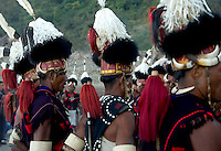 Lifescape Image of a Naga tribal dance of a community with headhunting and cannibal ancestry. Unique costumes and jewelry are worn during the festivals. Hornbill festival, Nagaland, India