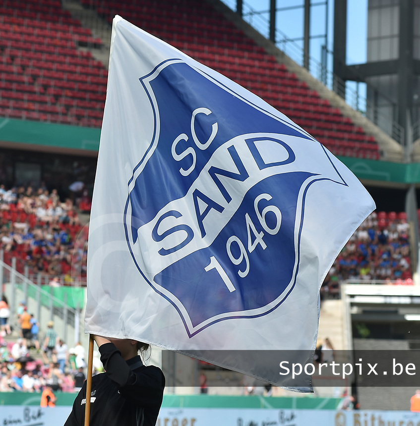20170527 - KOELN , GERMANY : Sand's flag  pictured before the final of German Women's Cup 2017 - Pokal Final Frauen , a soccer women game between SC Sand and holders VfL Wolfsburg  , at the Rhein Energie Stadion , saturday 27 th Mayl 2017 . PHOTO SPORTPIX.BE | DIRK VUYLSTEKE