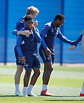 17.05.2019 Rangers training: Dapo Mebude with Joe Worrall and Lassana Coulibaly