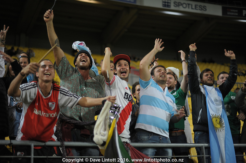 Jaguares fans celebrate a try during the Super Rugby match between the Hurricanes and Jaguares at Westpac Stadium, Wellington, New Zealand on Saturday, 9 April 2016. Photo: Dave Lintott / lintottphoto.co.nz