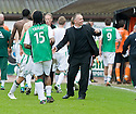 09/05/2010   Copyright  Pic : James Stewart.sct_js028_dundee_utd_v_hibernian  .::  HIBS MANAGER JOHN HUGHES AND PLAYERS  AT THE END OF THE GAME ::  .James Stewart Photography 19 Carronlea Drive, Falkirk. FK2 8DN      Vat Reg No. 607 6932 25.Telephone      : +44 (0)1324 570291 .Mobile              : +44 (0)7721 416997.E-mail  :  jim@jspa.co.uk.If you require further information then contact Jim Stewart on any of the numbers above.........