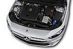Car Stock 2019 Mercedes Benz A-Class Progressive 5 Door Hatchback Engine  high angle detail view
