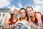 ON THE BALL:  Zoe Turner, Mariah Stack and Leeanne Mangan  from Duagh  who  took part in the annual Dromclough National School Basketball Tournament in Listowel last weekend..