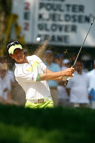 14 August 2009:  Ryo Ishikawa hits out of a bunker during the second round of the 91st PGA Championship at Hazeltine National Golf Club in Chaska, Minnesota. (Photo:Charles Baus/Actionplus)