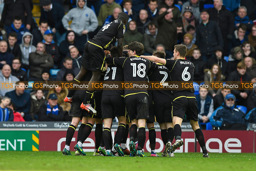 Crewe Alexandra players mob goalscorer George Ray of Crewe Alexandra during Portsmouth vs Crewe Alexandra, Sky Bet EFL League 2 Football at Fratton Park on 4th March 2017