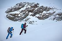 Ski touring in a whiteout during the Öztal ski tour, Austria