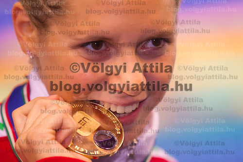 Boglarka Kapas of Hungary celebrates her victory in the Women's 800m Freestyle of the 31th European Swimming Championships in Debrecen, Hungary on May 23, 2012. ATTILA VOLGYI