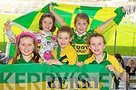 Kerry supporters at the Kerry Senior Football Team Media day at Fitzgerald Stadium on Saturday From Left Deirdre Lyne, Eve Crowley, Tara Murphy, Leah Dickinson, Isabelle Murphy, (Killarney).