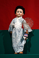 A Japanese doll among the 400 pcs collection of antique dolls from the 18th to the 19th century, among them famous names like Jumot, Marseille, Lenci, Rheinische Gummi, Steiff, Kruse, made of different materials, as porcelain, bisque, fabric, celluloid and composites.<br /> Antique toys exposed at Palazzo Braschi during the Exhibition 'For fun. Collection of antique toys of Capitoline Superintendency'.<br /> Rome (Italy), July 24th 2020<br /> Foto Samantha Zucchi Insidefoto