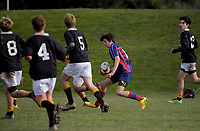 Action from the Wellington secondary schools under-65kg club rugby match between Rahui and Wellington College at Otaki Domain in Otaki, New Zealand on Saturday, 30 June 2018. Photo: Dave Lintott / lintottphoto.co.nz