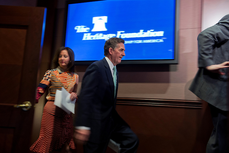 "UNITED STATES - MAY 6: Former Sen. Jim DeMint, R-S.C., president of the Heritage Foundation, arrives for a news conference at the Foundation's offices to discuss the U.S. Senate's ""Gang of Eight"" immigration bill and how the amnesty portion would have negative effects on the economy. (Photo By Tom Williams/CQ Roll Call)"