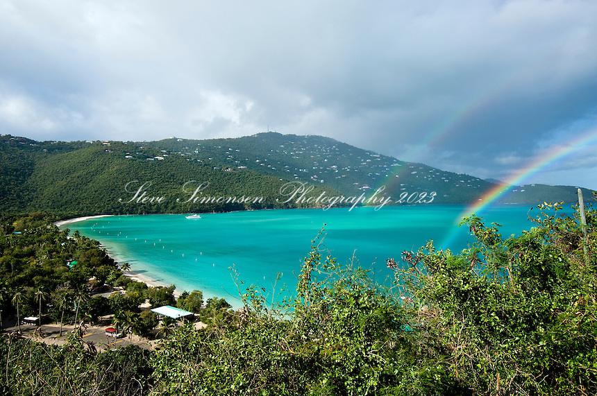 Double rainbow over Magen's Bay.St Thomas.U.S Virgin Islands