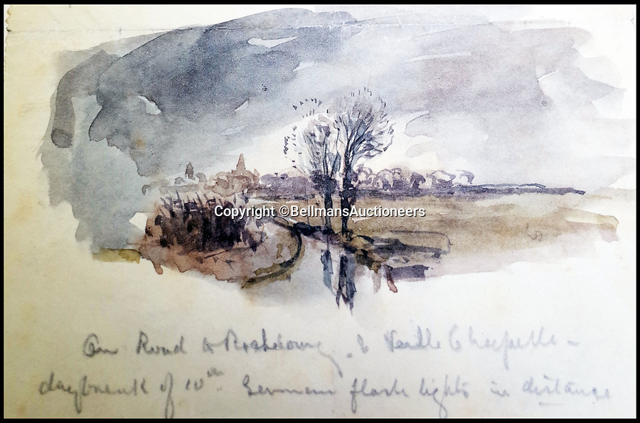 BNPS.co.uk (01202 558833)<br /> Pic: BellmansAuctioneers/BNPS<br /> <br /> 'On the road to Richebourg & Veille Chapelle, daybreak of 10th...German flash lights in distance.'<br /> <br /> A collection of beautiful First War watercolours that offer a fascinating glimpse into one man's life in the trenches has emerged for sale a century later.<br /> <br /> Talented artist Finlay Mackinnon, who exhibited multiple times at the prestigious Royal Academy, answered the call to sign up in 1914 and spent almost all of the First World War fighting in France.<br /> <br /> But in his free time on the front he did what he loved best, capturing life in the trenches and also the beauty of their bleak surroundings in his pictures.<br /> <br /> Bellmans Auctioneers, who are selling the album of artwork, know little about the provenance of the album, which is expected to fetch £4,000 at auction.