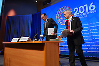 Washington, DC - April 14, 2016: Jim Yong Kim, President of the World Bank Group, enters the press briefing room at the IMF headquarters in the District of Columbia to talk to members of the media, April 14, 2016, escorted by communications advisor John Donnelly.  (Photo by Don Baxter/Media Images International)