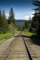 Rail track close to Squamish. North Vancouver, British Columbia, Canada.
