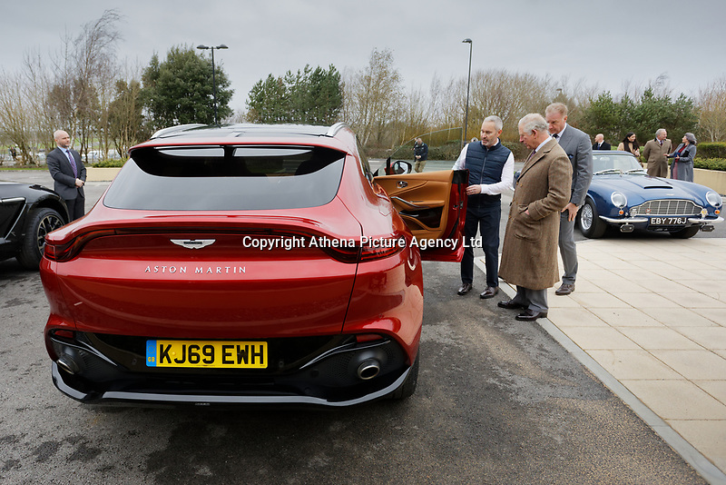 Pictured: Prince Charles is being shown a brand new Aston Marytin DBX. Friday 21 February 2020<br /> Re: HRH Prince Charles visits the Aston Martin Lagonda factory in St Athan, south Wales, UK.