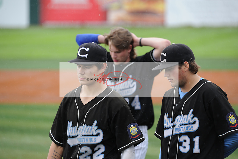 From left, Charlei  Bucolo, Cody Curfman and Sam Hanson after the final out against Service.