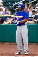Jermaine Mitchell (25) of the Midland RockHounds on deck during a game against the Springfield Cardinals on April 19, 2011 at Hammons Field in Springfield, Missouri.  Photo By David Welker/Four Seam Images
