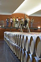 Oak barrel aging and fermentation cellar. Chateau Paloumey, Haut Medoc, Bordeaux, France.