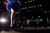 September 17, 2010.  Raleigh, North Carolina..Lauren Youngman hovers above the crowd in her blue tutu designed by Domino.
