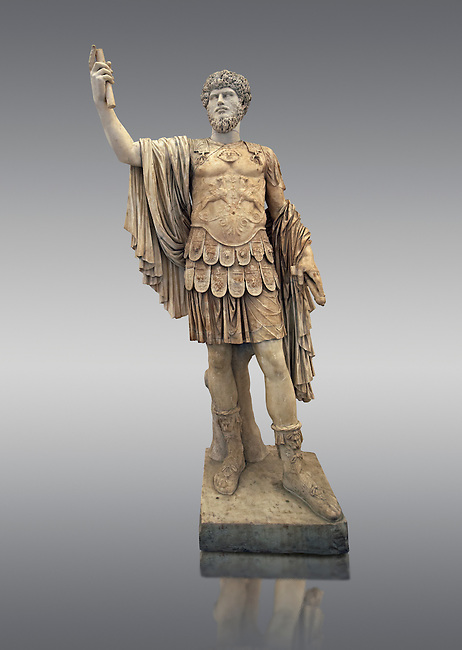 Roman marble sculpture with an unrelated head  of Lucius Verus, body 50-75 AD head 160-169 AD, inv 6081, Museum of Archaeology, Italy
