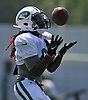 Lucky Whitehead #8 makes a catch during New York Jets Training Camp at Atlantic Health Jets Training Center in Florham Park, NJ on Tuesday, Aug. 1, 2017.