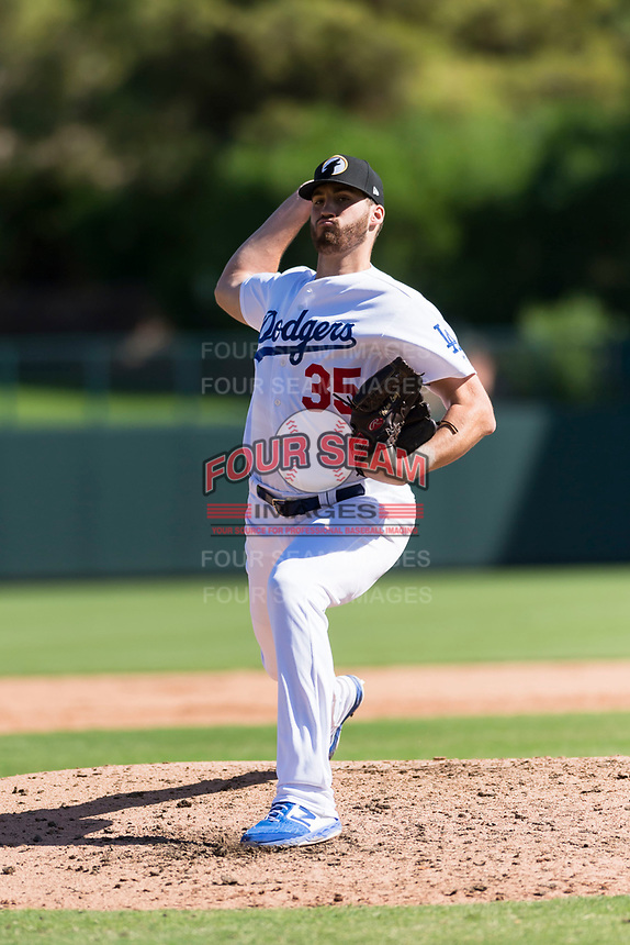 Glendale Desert Dogs relief pitcher Nolan Long (35), of the Los Angeles Dodgers organization, delivers a pitch during an Arizona Fall League game against the Mesa Solar Sox at Camelback Ranch on October 15, 2018 in Glendale, Arizona. Mesa defeated Glendale 8-0. (Zachary Lucy/Four Seam Images)