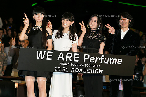 (L to R) Members of the Japanese pop girl group Perfume Kashiyuka, A-chan, Nocchi and director Taketoshi Sado pose for the cameras during a stage greeting for the movie ''WE ARE Perfume WORLD TOUR 3rd DOCUMENT'' at TOHO CINEMAS in Roppongi on October 24, 2015, Tokyo, Japan. Perfume's movie will be released in Japanese theaters on October 31. The screening is part of the 28th Tokyo International Film Festival which is one of the biggest film festivals in Asia and runs from October 22 to Saturday 31. (Photo by Rodrigo Reyes Marin/AFLO)
