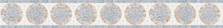"5 1/8"" Saturn border, a hand-cut stone mosaic, shown in polished Rosa Portagallo, Celeste, Thassos."