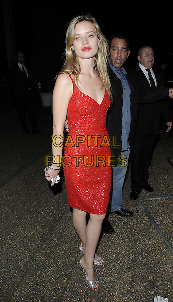 Georgia May Jagger<br /> The Serpentine Gallery Summer Party, Serpentine Gallery, Kensington Gardens, Hyde Park, London, England.<br /> June 26th, 2013<br /> full length dress red sequins sequined side <br /> CAP/CAN<br /> &copy;Can Nguyen/Capital Pictures