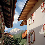 Trentino houses in Northern Italian Alps, ITALY