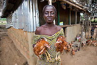 BRAC PROJECT, Emma Toe, BRAC poultry project. Has 4 chickens, 5 kids,  pays for school fees.