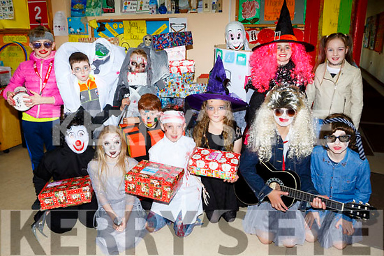 Pupils from Kilcummin NS who are participating in the annual Christmas Shoe box appeal front row l-r: Nathan McCarthy, Aoibhe O'Sullivan, Dan Barry, Ronan O'Connor, Roisin O;Sullivan, Keelan O'Shea and Cian Lynch. Back row: Adam Murphy, Timmy Kelliher, Cian Maher, Mark cronin, Caoimhe O'Halloran and Micaela O'Sullivan