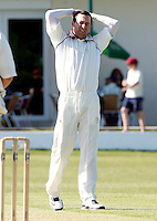 Darren Eckford feels the frustration during the Middlesex County Cricket League Division Two game between North Middlesex and Enfield at Park Road, Crouch End, London on Sat May 22, 2010