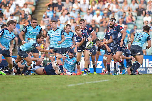 03.04.2016.  Allianz Stadium, Sydney, Australia. Super Rugby. NSW Waratahs versus Melbourne Rebels. Rebels scrum half and captain Nic Stirzaker passes the ball. The Rebels won 21-17.