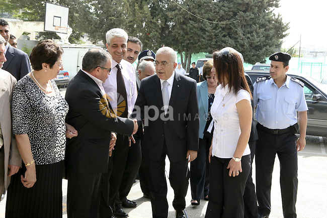 Palestinian Prime Minister Salam Fayyad during his tour in several high schools in Ramallah district to check on students who are taking the main Highs school exams (Tawjehe) on June 12,2010. Photo by Eyad Jadallah