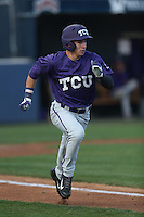Nolan Brown (6) of the TCU Horned Frogs runs to first base during a game against the Loyola Marymount Lions at Page Stadium on March 16, 2015 in Los Angeles, California. TCU defeated Loyola, 6-2. (Larry Goren/Four Seam Images)
