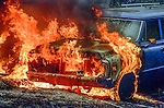 August 18, 1992 Angels Camp, California -- Old Gulch Fire— Vehicle engulfed in flames near Cave City.  The Old Gulch Fire raged over some 18,000 acres, destroying 42 homes while threatening the Mother Lode communities of Murphys, Sheep Ranch, Avery and Forest Meadows.