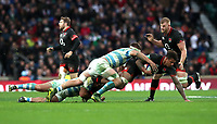 England's Courtney Lawes is tackled during todays game<br /> <br /> Photographer Rachel Holborn/CameraSport<br /> <br /> International Rugby Union Friendly - Old Mutual Wealth Series Autumn Internationals 2017 - England v Argentina - Saturday 11th November 2017 - Twickenham Stadium - London<br /> <br /> World Copyright &copy; 2017 CameraSport. All rights reserved. 43 Linden Ave. Countesthorpe. Leicester. England. LE8 5PG - Tel: +44 (0) 116 277 4147 - admin@camerasport.com - www.camerasport.com