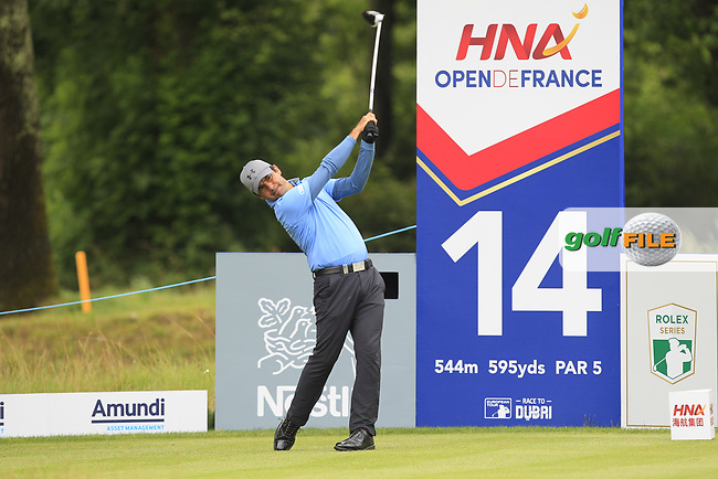Filipe Aguilar (CHI) on the 14th tee during Round 3 of the HNA Open De France  at The Golf National on Saturday 1st July 2017.<br /> Photo: Golffile / Thos Caffrey.<br /> <br /> All photo usage must carry mandatory copyright credit      (&copy; Golffile | Thos Caffrey)