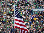 Sept. 21, 2013; Flag raising at a Notre Dame Football game.<br /> <br /> Photo by Matt Cashore