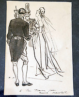 BNPS.co.uk (01202 558833)<br /> Pic: PhilYeomans/BNPS<br /> <br /> Sketched note to Thomas from Norman Hartnell.<br /> <br /> A remarkable 'timewarp' archive amassed by a dressmaker to the Queen has sold for over £100,000.<br /> <br /> The late Ian Thomas meticulously kept his fashion designs, letters, cards and photographs relating to the Queen at his home that was more like a museum. <br /> <br /> He helped design the Queen's coronation gown in 1953 as well as the powder blue outfit she wore for Charles and Diana's wedding in 1981.<br /> <br /> The lifelong bachelor passed away in 1993 and left his home and its contents to a florist he had been good friends with for 25 years.<br /> <br /> After she died in 2015 the property was inherited by a relative who also knew Mr Thomas well.<br /> <br /> She has now sold the contents at auction.